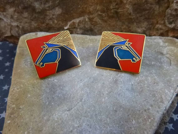 Striking Artist Creator Laurel Burch Vintage Stallion Pierced Enamel Vintage Earrings