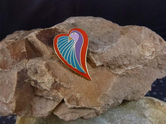 "Laurel Burch ""Dove Heart"" Colorful Spirited Brooch 