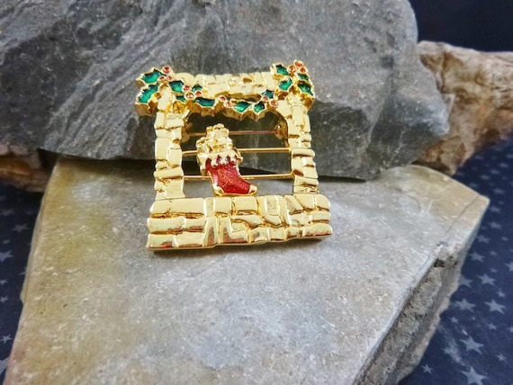 1995 Christmas Stocking by the Fireplace Vintage Pin | Red Stocking Slide Brooch