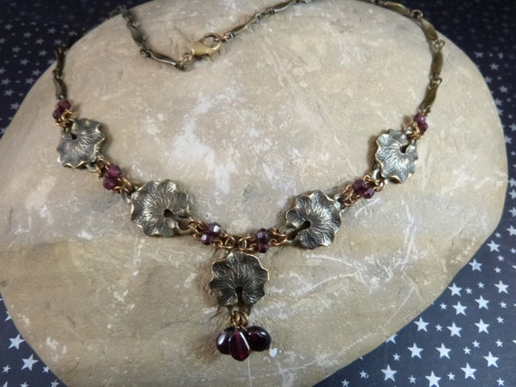Art Nouveau Revival Water Lilies Vintage Celia Landman Necklace Bronze and Amethyst