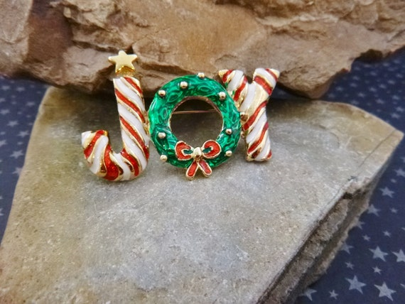 Christmas Joy Festive Vintage Message Pin | Holiday Red and Green Brooch
