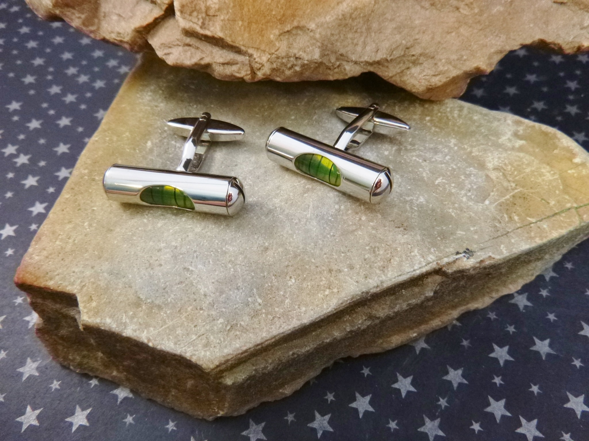 Working Green Level Cufflinks Gift Boxed For Carpenter