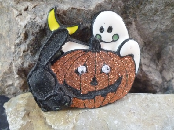 Vintage Halloween Black Cat and Ghost with Glittery Pumpkin Pin