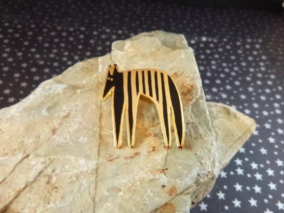 Rare Laurel Burch Vintage Pin | Stylized Modern Animal Striped Beast or Zebra | Black and Gold Animal Brooch
