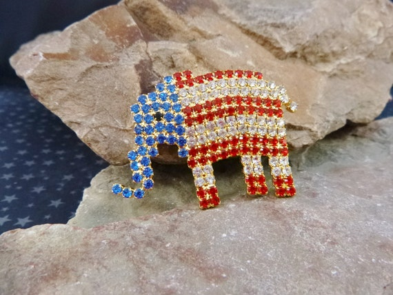 Rhinestone Republican Elephant Patriotic Pin | Red White and Blue Sparkling Elephant Vintage Brooch