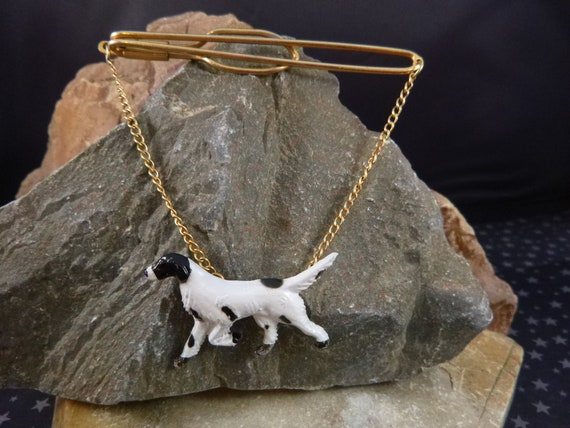 Love Hunting? Springer Spaniel Bird Dog Vintage Tie Clip | Painted Celluloid Hunting Dog Tie Bar Tie Clip with Chain circa l920s-30s