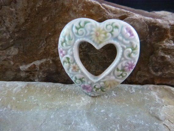 Vintage Porcelain Heart Brooch with Raised Pastel Flowers Double Heart Within a Heart Style