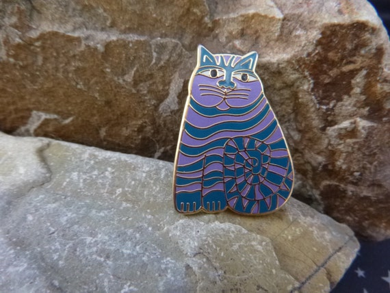 """Laurel Burch """"Shambala"""" Whimsical Fat Cat Vintage Brooch 
