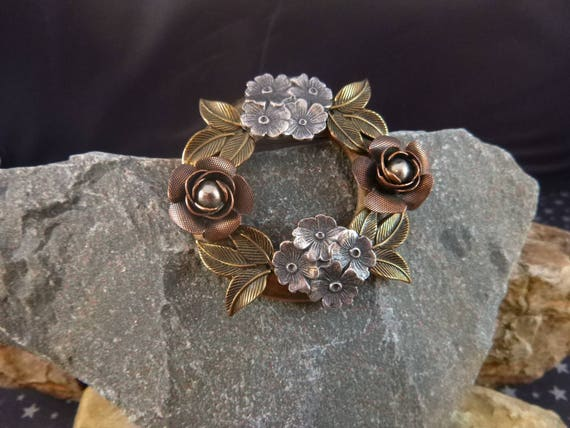 Mid Century Rose and Leaf and Flower Vintage Romantic Mix Metal Brooch circa 1940s-50s