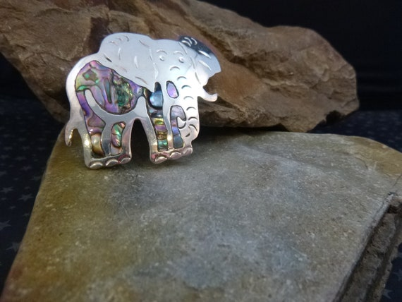 Abalone and Alpaca Mexican Silver Large Vintage Elephant Republican Symbol Brooch   Made in Mexico