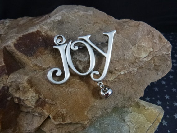 Christmas Joy to the World Vintage JJ Pewter Brooch  with Dangling Bell | Message of Joy Holiday Message Pin