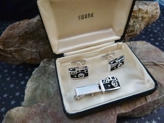 Swank Mid Century Vintage  Camera Cuff Links and Tie Clip in Original Box | Before Our Phones Were Our Cameras | Photo Enthusiast Cufflinks