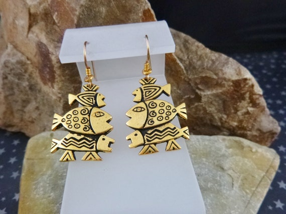 Laurel Burch Dangling Three Fishes Vintage Pierced Earrings | Antiqued Gold Tone Whimsical Fish Earrings with French Wire