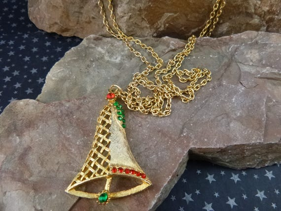 Christmas Bell Necklace Vintage B.J. | Long Double Chain Necklace | Red and Green Rhinestones Unusual Holiday Bell