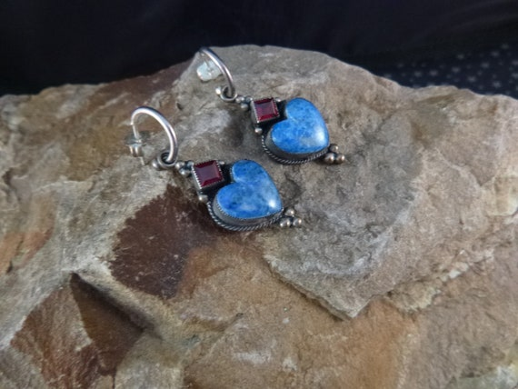 Don Lucas Vintage Southwestern Heart Earrings | Sterling with Lapis and Garnet Stones | One of a Kind Hand Crafted Pierced Earrings