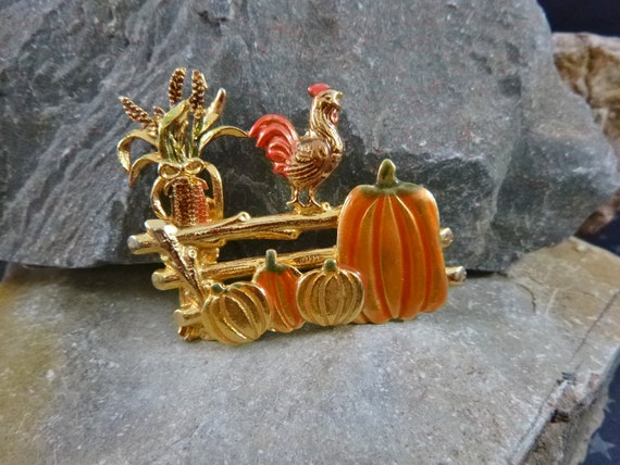 Bountiful Harvest Farm Scene Vintage Fall Pin | Rooster Pumpkins and Cornstalk