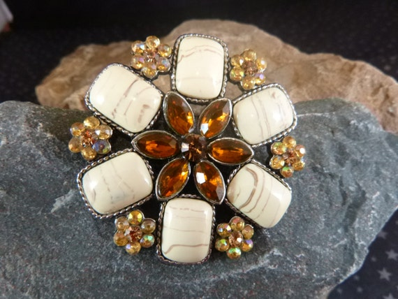 Fall to Winter Colors Vintage Brooch Amber Glass Stone Center Flower Surrounded by Faux Agates and Aurora Borealis Rhinestones Floral Design