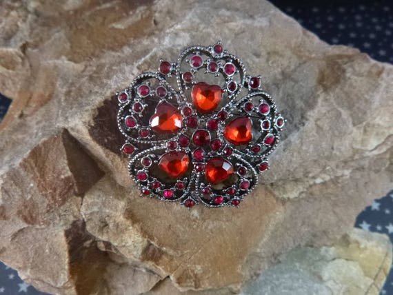 Romantic Victorian Revival Heart Brooch | Vintage Red Crystal and Rhinestone Napier Red Hearts Pin