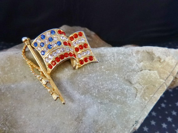 Napier Waving American Flag Vintage Patriotic Pin with Red White and Blue Rhinestones July 4 or Any Day