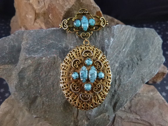 Large Locket Victorian Revival Style Vintage Brooch | Faux Turquoise Glass Stones | Romantic Dangling Locket Pin Holds Two Pictures