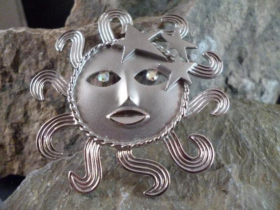 Vintage Signed J.J. Large Sun and Stars Sun-goddess Brooch with Aurora Borealis Rhinestones