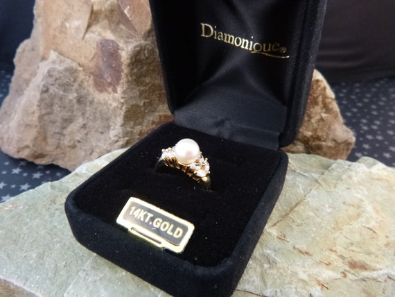 Diamonique 14K Simulated Pearl Vintage Ring with Cubic Zirconia Stones | Original Box | Size 6