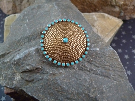 Goldette Small Victorian Revival Vintage Circle Brooch With Gold Tone Rope Styling Surrounded by Turquoise Colored Stones
