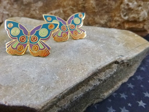 Laurel Burch Butterfly Vintage Earrings | Cloisonné Enamel Earrings for Pierced Ears