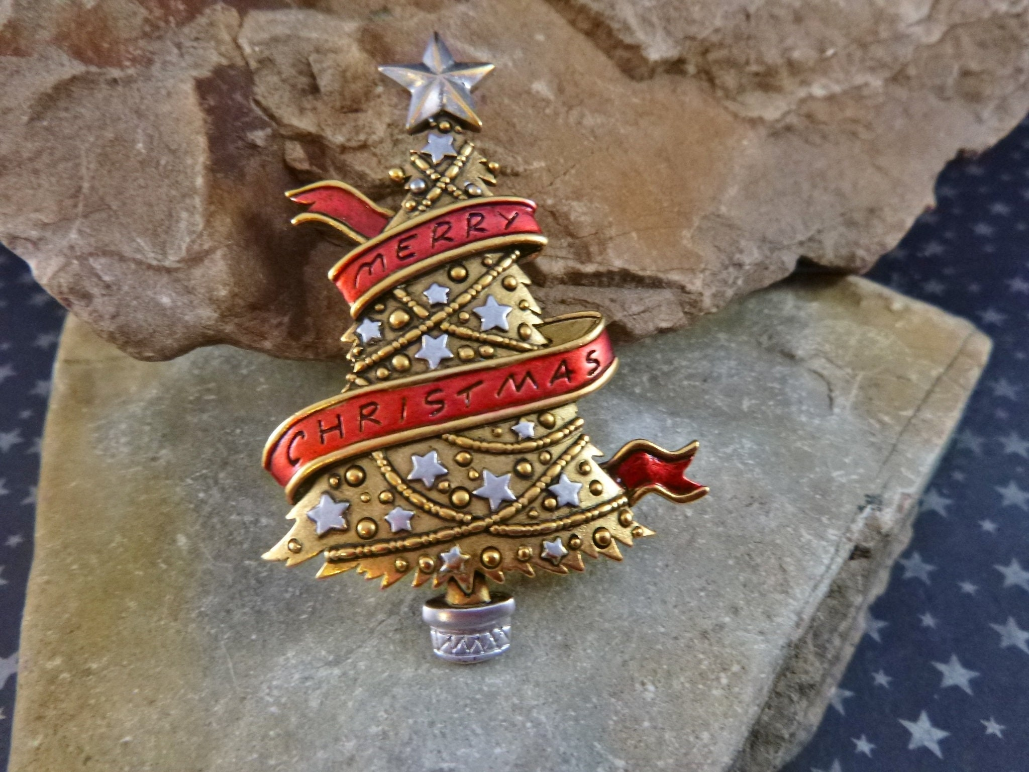 682537aa5 Merry Christmas Red Ribbon Christmas Tree Vintage Brooch | Signed ...