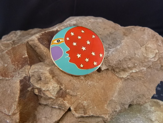 "Uncommon Laurel Burch ""Moonface"" Whimsical Moon and Stars Signed Vintage Brooch"