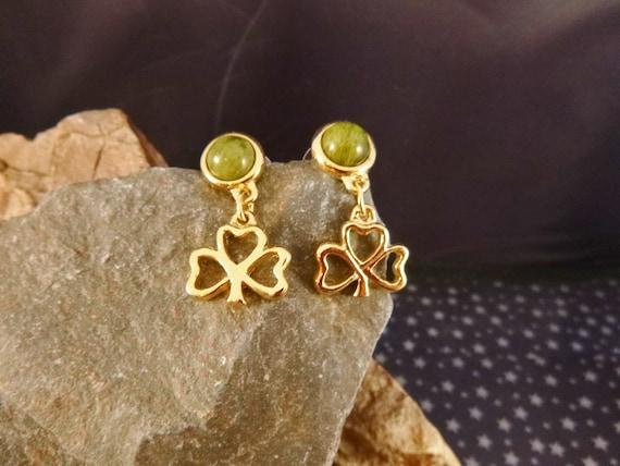 Vintage Shamrock Earrings with Connemara Marble | Dangling Shamrock Pierced Irish Earrings | St. Patrick's Day or Any Day