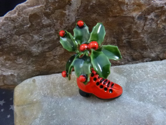 Original by Robert Victorian Christmas Boot Vintage Pin | High Top Lace Boot with Green Holly and Red Berries Collectible Christmas Book Pin