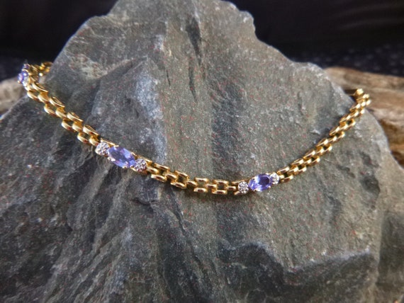 14K Gold Chain Vintage Bracelet Set with Semi Precious Stones | Lavender Amethyst and Cubic Zirconia | 14K Casual Elegance Bracelet