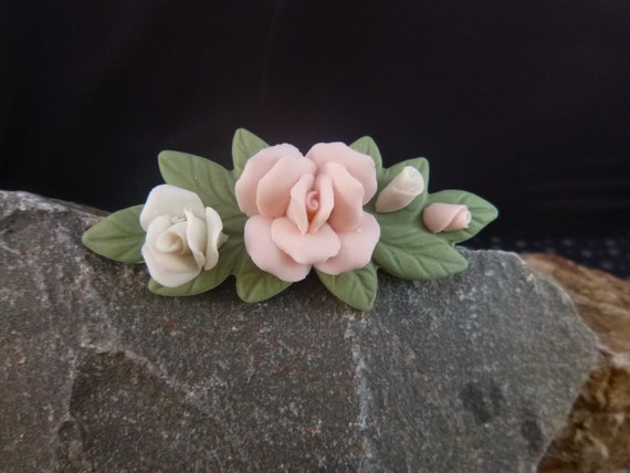 1987 Porcelain Petals Avon Vintage Pin | Mother's Day Flowers that Last | Bisque Porcelain Rose Brooch Book Piece  in Original Box