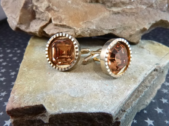 Mid Century Large Cuff Links / Cufflinks Faceted Amber Glass Book Piece circa l950s