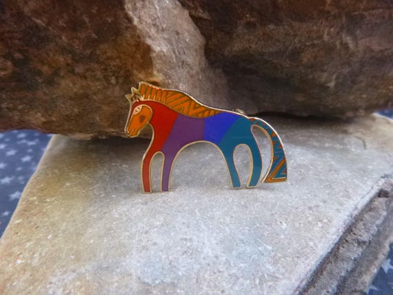 "Vintage Laurel Burch Spirited, Southwest ""Caballo"" Colorful Little Horse Pin Cloisonné Enamel Brooch"