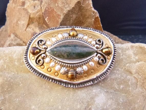 Michal Golan Asymmetrical Mosaic Brooch 24K Gold Plated Freshwater Pearls Semi Precious Stones Vintage Brooch or Pendant