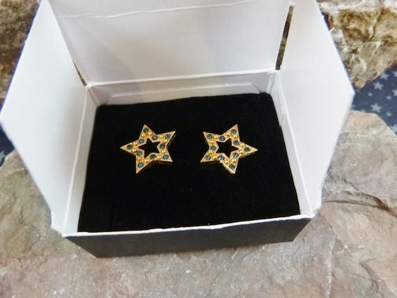 "1994 Blue Avon ""Sparkle Star"" Vintage Pierced Earrings in Original Box | Patriotic Democratic Blue  Rhinestone Star Earrings | Book Piece"