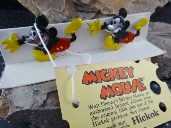 1990 Large Mickey Mouse Vintage Cuff Links | From Original l934 Dies | Original Box & Hang Tag | Walt Disney and Hickok | Book Piece