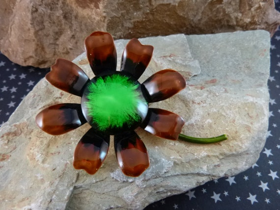 Vintage Original by Robert Metal Enamel Flower Brooch - Green, Brown and Black