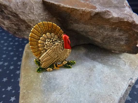 Thanksgiving Vintage Turkey Brooch Signed JJ (Jonette) Antiqued Brass and Enamel