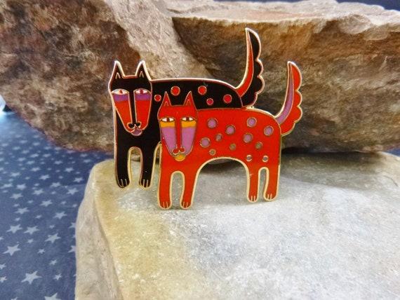 "Vintage Laurel Burch ""Mythical Dogs"" Multicolored Cloisonné Enamel Uncommon Brooch"