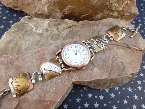 Unique Artisan Crafted Vintage Toggle Watch Bracelet Mixed Metal with Fish Bear Moose Fishing Lure for Fisherwoman or Outdoors Woman