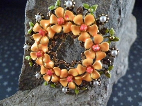 Vintage ART Signed Colorful Floral Enamel and Faux Pearl Wreath Brooch