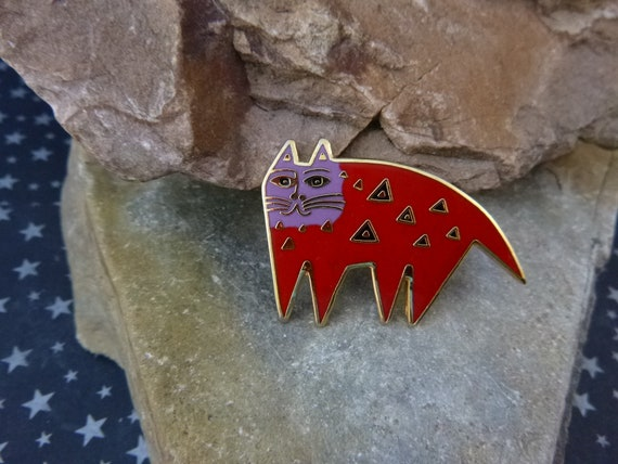 """Laurel Burch """"Mallory's Cat"""" Whimsical Cloisonné Enamel Vintage Brooch 