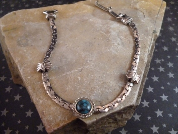 """Southwest Flair 1960s Goldette Signed Vintage Silver Tone 7"""" Bracelet with Turquoise Colored Stone"""