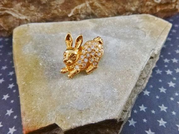 1993 Vintage Avon Rhinestone Easter Bunny Push Back Pin | Book Piece
