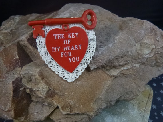The Key of My Heart for You Mid Century Brooch | Red Heart Vintage Valentine Pin | Thermoset Plastic Heart and Key Book Piece