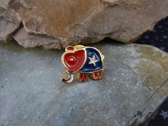 Red White and Blue Small Republican Elephant Vintage Lapel or Hat Pin | Republican Party Affiliation Political Pin