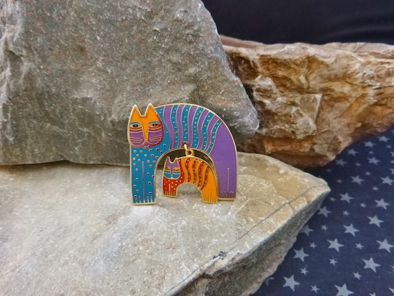 "Laurel Burch ""Mr. Jio's Cat"" Vintage Cloisonné Enamel Cat Brooch 